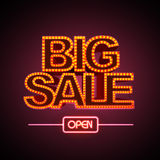 Neon sign big sale open. On black background Royalty Free Stock Image
