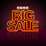 Neon sign big sale open Stock Images
