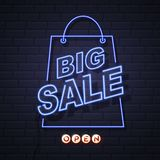 Neon sign big sale open on brick wall background. Stock Illustration