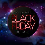 Neon sign black friday big sale open on abstract space background Royalty Free Illustration