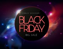 Neon sign black friday big sale open on abstract space background Vector Illustration