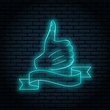 Neon sign with blue glow. Hand gesture, thumb up. like. On a brick wall background, for your design. With ribbon, flag. For text stock illustration
