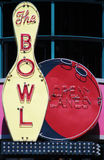 Neon Sign Bowl. Vintage neon sign for a bowling alley Stock Photography