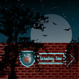 Neon sign bowling bar on the wall. Night scene with moon, stars, tree and flowers silhouette and blue neon sign on the wall Stock Photography