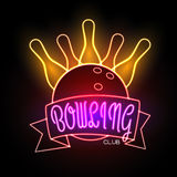 Neon sign. Bowling club Royalty Free Stock Photos