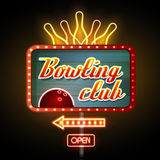 Neon sign. Bowling club Stock Photo