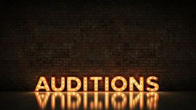 Neon Sign on Brick Wall background - Auditions . 3d rendering.  stock illustration
