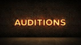 Neon Sign on Brick Wall background - Auditions . 3d rendering royalty free illustration