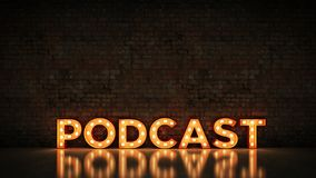 Neon Sign on Brick Wall background - Podcast. 3d rendering.  royalty free illustration