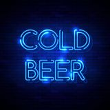 Neon sign on the brick wall. Cold Beer neon sign on the brick wall. Vector Illustration stock illustration
