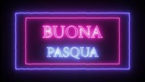 Neon sign `Buona Pasqua`, Happy Easter in italian. Language vector illustration