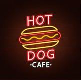 Neon sign of burger cafe. Royalty Free Stock Photos