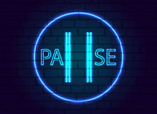 A neon sign in button pause,on the background of a brick wall. Vector illustration Royalty Free Stock Photography