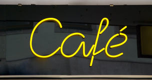 Neon sign cafe Stock Photos