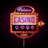 Neon sign. Casino. Entertainment background vector illustration