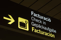 Neon sign. Check-in at the airport of Palma de Mallorca, Spain stock illustration