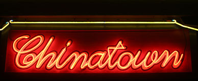 Neon Sign Chinatown at Night. Entrance to Chinatown at Night - Neon Sign Stock Image