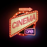 Neon sign. Cinema Stock Photos
