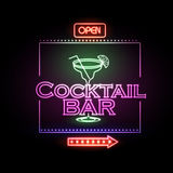 Neon sign Cocktail bar Stock Photography