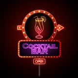 Neon sign Cocktail bar Stock Images