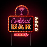 Neon sign Cocktail bar Royalty Free Stock Photos