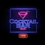Neon sign Cocktail bar Stock Photo