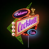 Neon sign.Cocktail bar Stock Photography