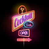 Neon sign. Cocktail bar Royalty Free Stock Photography