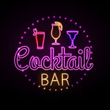 Neon sign. Cocktail bar Stock Photography