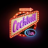 Neon sign. Cocktail bar Royalty Free Stock Image