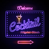 Neon sign. Cocktail bar Stock Photos