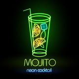 Neon sign. Cocktail Royalty Free Stock Images
