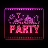 Neon sign. Cocktail party Royalty Free Stock Images