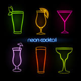 Neon sign. Cocktail Stock Images