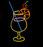Neon sign of a coctail glass Royalty Free Stock Photos