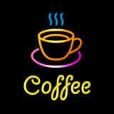 Neon Sign with Coffee Cup on Black Background Stock Photo