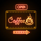 Neon sign. Coffee. Neon emblem royalty free illustration