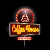 Neon sign. Coffee house Royalty Free Stock Photos