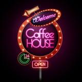 Neon sign. Coffee house stock illustration