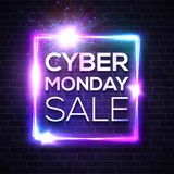 Neon sign with Cyber Monday text on brick wall. royalty free illustration