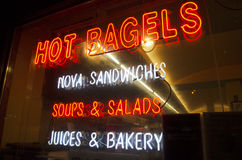 Neon sign on deli store window Royalty Free Stock Photography