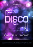 Neon sign. Disco party poster Stock Image