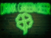 Neon Sign Drink Green Beer Green Stock Photography