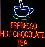 Neon sign for drinks. Neon sign for espresso, hot chocolate and tea royalty free stock photo