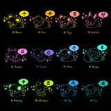 Neon sign effect 12 Zodiac Animal Mascot Stock Images