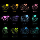 Neon sign effect 12 Zodiac Animal Mascot Stock Image