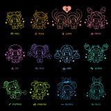 Neon sign effect 12 Zodiac Constellation Stock Photo