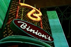 Neon Sign at the Entrance of Binion`s Horseshoe Casino stock photos