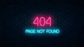 Neon sign of 404 error page not found on dark brick wall background. Red and blue neon connection error web site page. Vector illustration Vector Illustration
