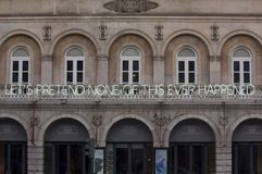 A neon sign on the facade of the D. Maria  Theatre in  Lisbon Stock Photography